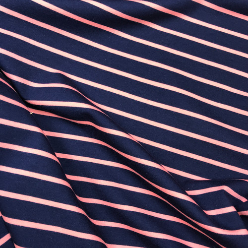 Yarn Dyed Stripe Sweatshirt in Navy/Coral
