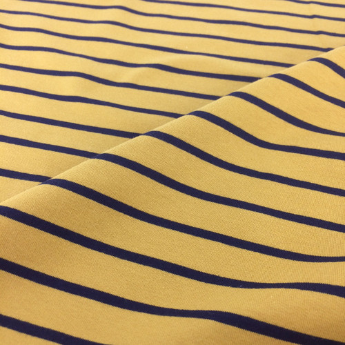Yarn Dyed Stripe Jersey in Mustard