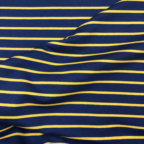 Yarn Dyed Stripe Sweatshirt in Mustard/Navy