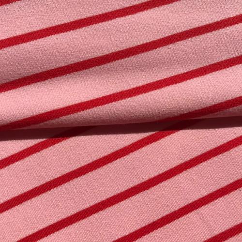 Yarn Dye Stripe Sweatshirt in Rose/Red
