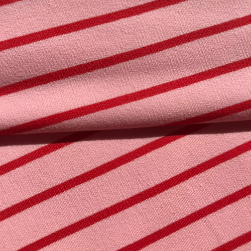 Yarn Dye Stripe Sweatshirt in Rose/Red