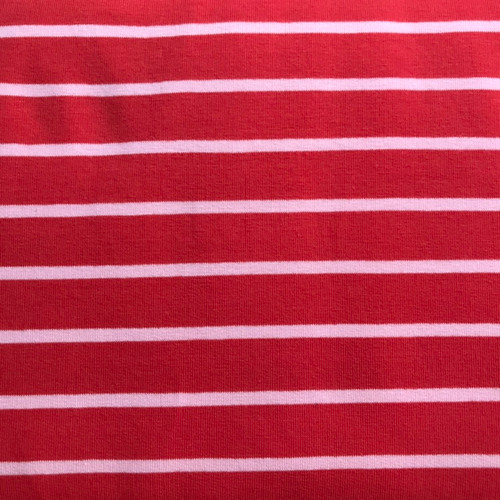 Yarn Dye Stripe Sweatshirt in Red/Rose