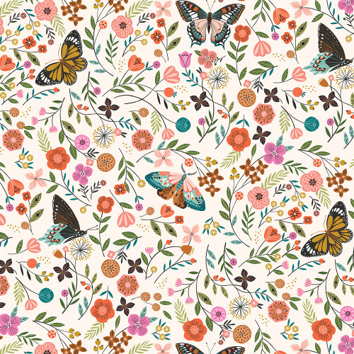 Aviary by Bethan Janine - Butterfly Bloom in Ecru