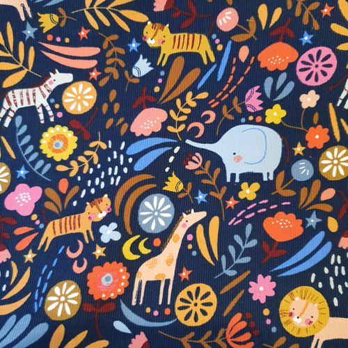 Meadow Safari Cord- Animal Play in Navy