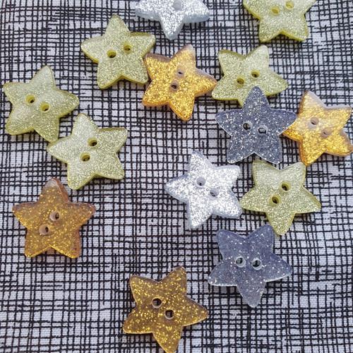 Glitter Star Button in Silver