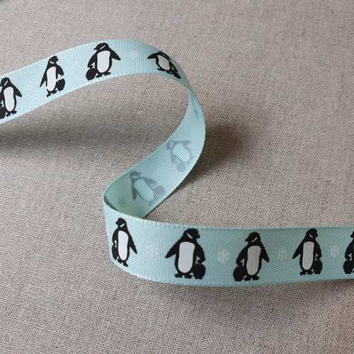 Penguin Grosgrain Ribbon in Ice Blue