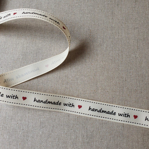Handmade with Love Grosgrain Ribbon in Ivory