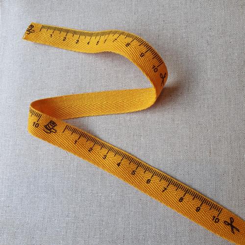Tape Measure Herringbone Ribbon in Yellow