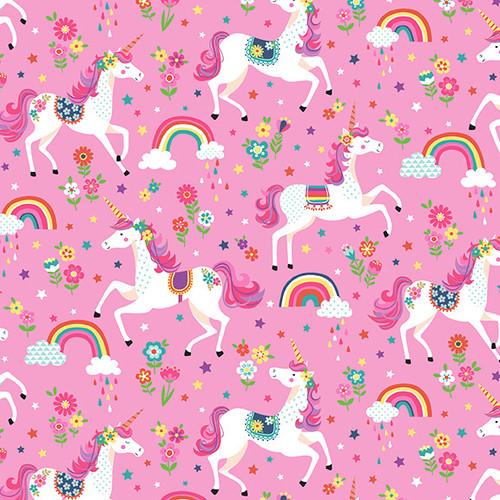 Daydream by Makower - Unicorns in Pink