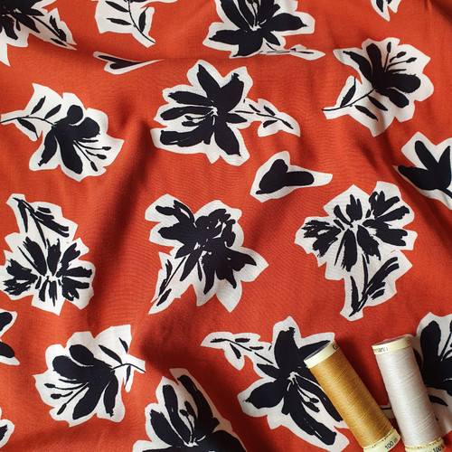Monochrome Floral Viscose in Ginger