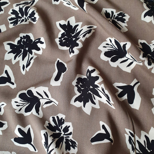 Monochrome Floral Viscose in Taupe