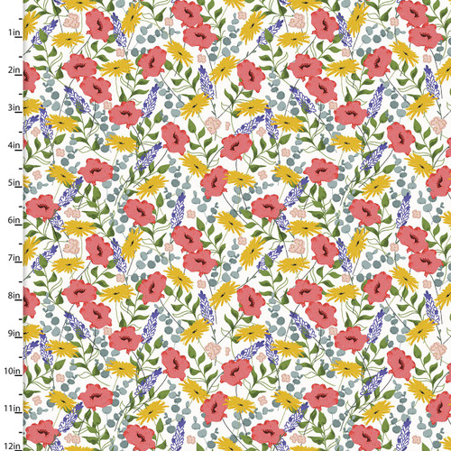 3 Wishes - Feed the Bees - Allover Floral in White