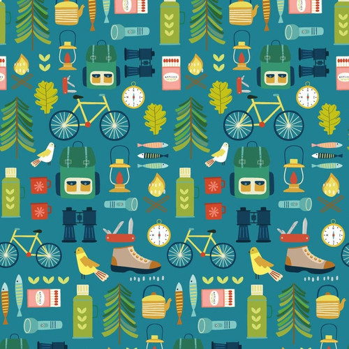 Hobbies - Great Outdoors by Sally Payne Cotton Quilt Fabric
