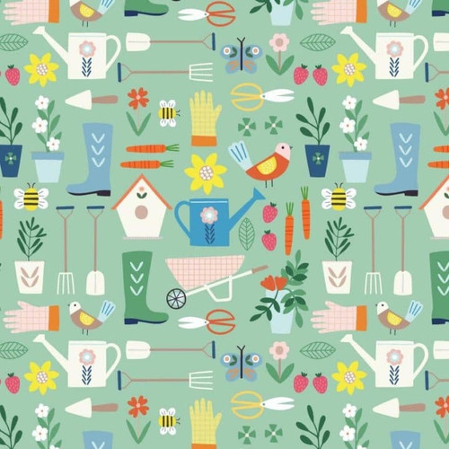 Hobbies - Gardening by Sally Payne Cotton Quilt Fabric