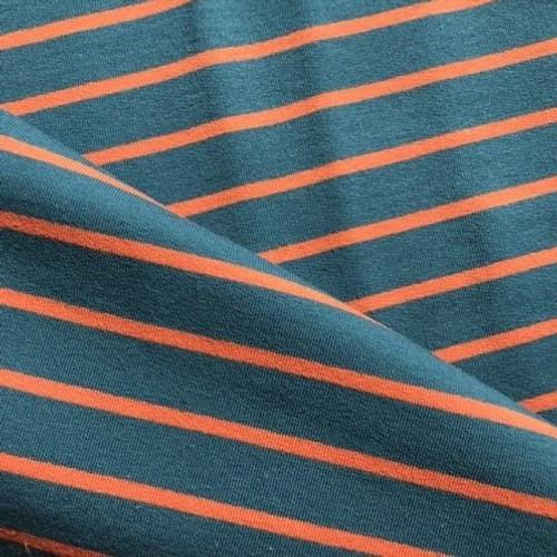 Yarn Dye Stripe Sweatshirt in Petrol/Terracotta