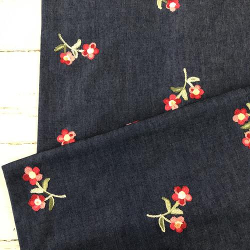 Flower Embroidered Denim