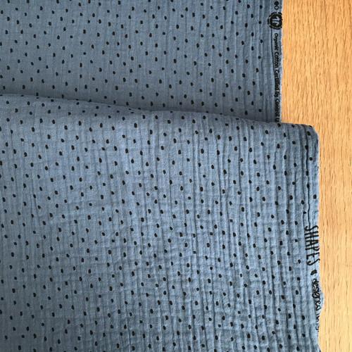 Dots Cotton Double Gauze in Sapphire Blue