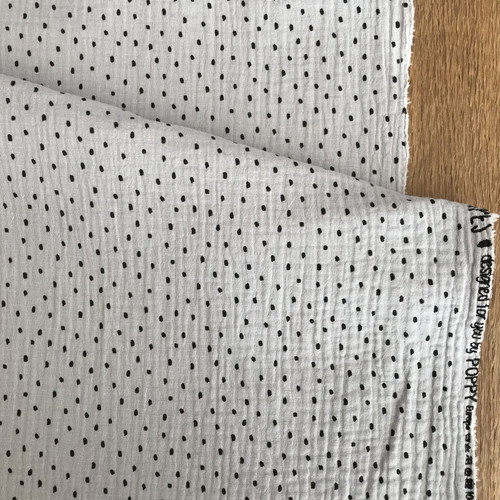 Dots Cotton Double Gauze in White