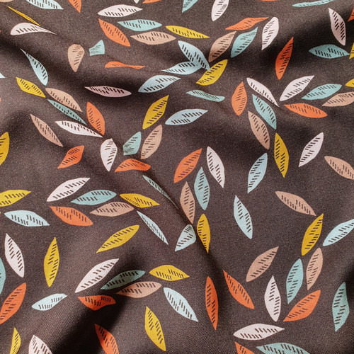 Riverside Rayon  Scattered leaves in Chocolate