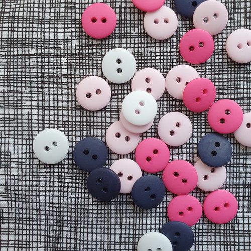 Matte 2-hole Buttons 11mm- Assorted Colours