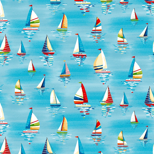 Beside the Sea - Sailboats in Sky Blue