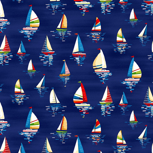 Beside the Sea - Sailboats in Navy