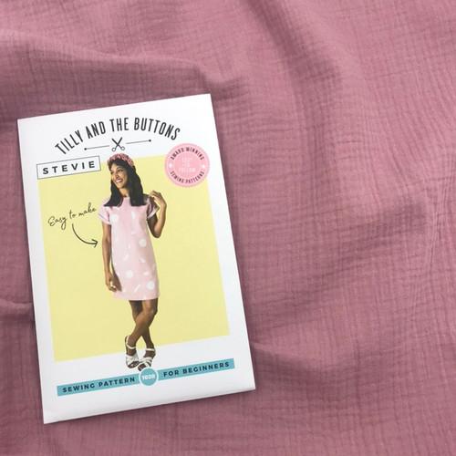Stevie Top  Dressmaking Kit in Mauve (Sizes UK16-UK24)