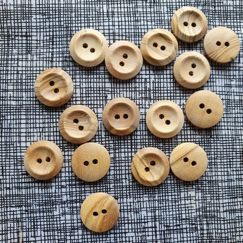 Olive Wood Button 17mm