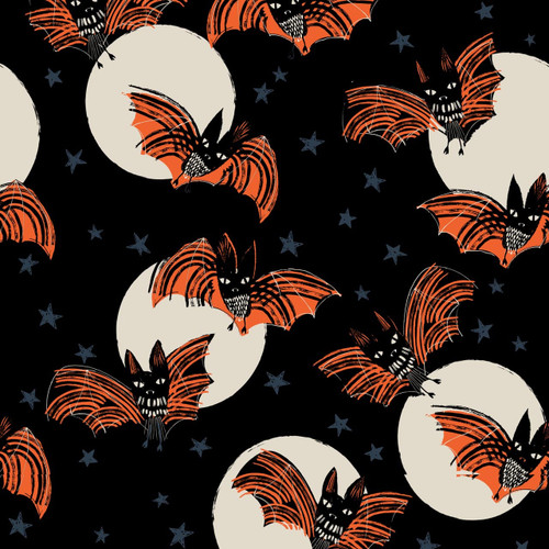 Full Moon by Dashwood - Bats in Black - Quilt Cotton Fabric