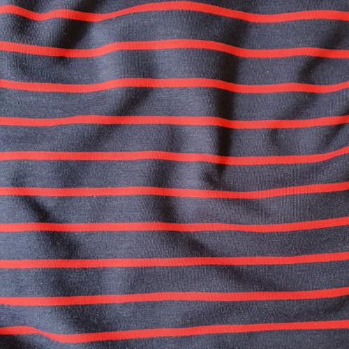 Yarn Dye Stripe Sweatshirt in Navy/Red