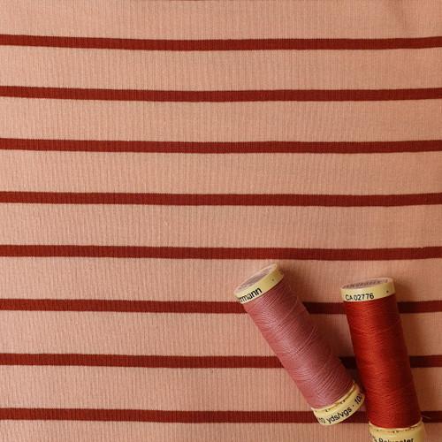 Yarn Dye Stripe Sweatshirt in Pink/Ginger
