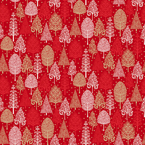 Scandi Christmas by Makower - Trees in Red