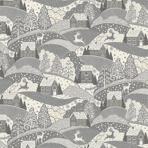 Scandi Christmas by Makower - Scenic in Grey