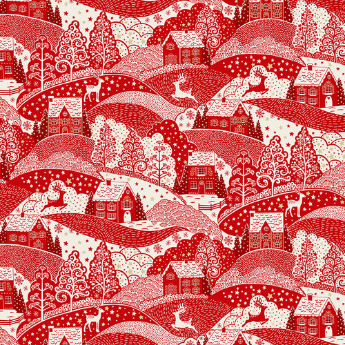 Scandi Christmas by Makower - Scenic in Red