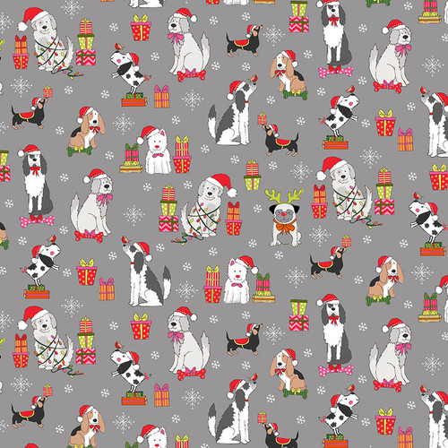 Yappy Dogs by Makower - Christmas Dogs in Grey