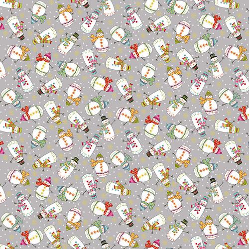 Santa Express by Makower - Snowmen in Grey