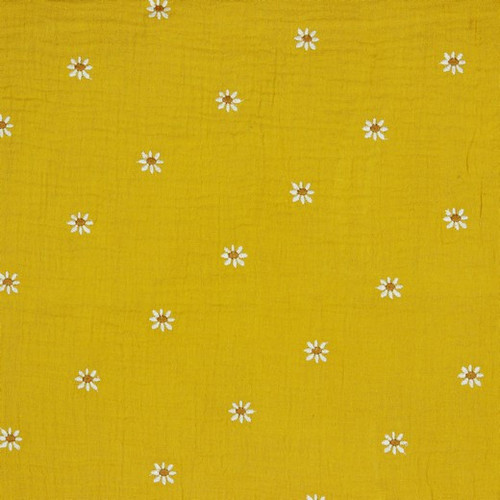 Daisy Double Gauze Cotton Fabric in Ochre