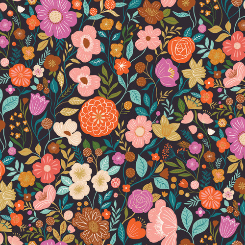 Good Vibes Multi Floral in Ink Quilt Cotton Fabric