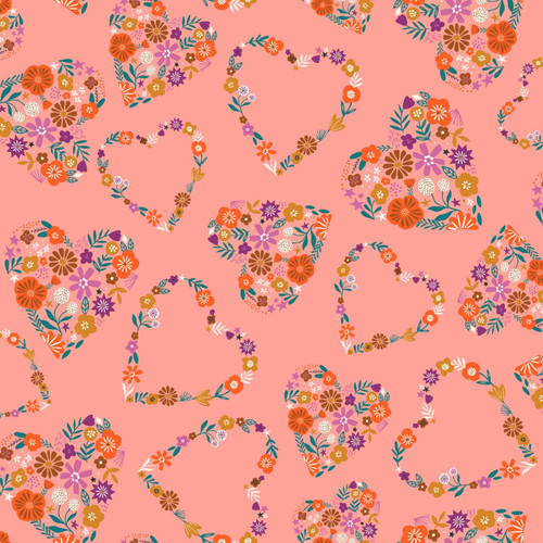 Good Vibes Hearts in Apricot Quilt Cotton Fabric