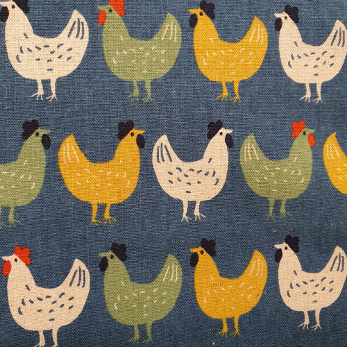 Country Chickens in Blue