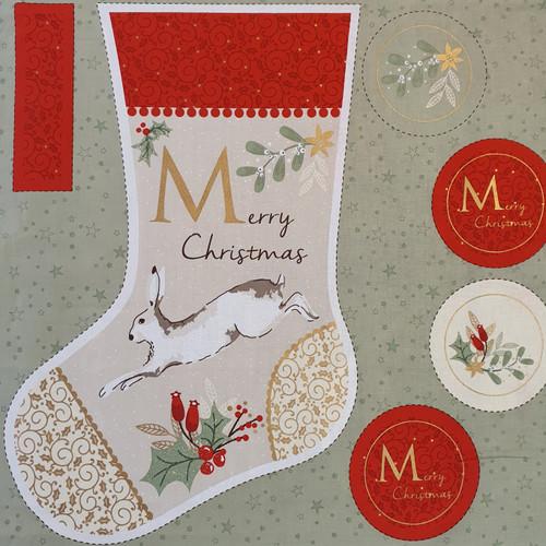 Christmas Hare & Robin Stocking Panel