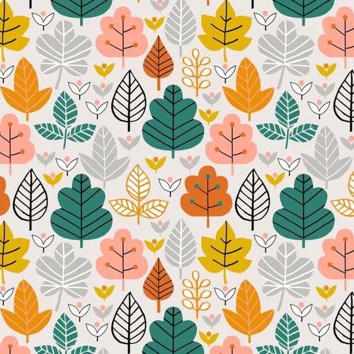 Acorn Wood Leaves in Grey