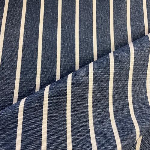 Butchers Stripe Cotton Canvas in Navy