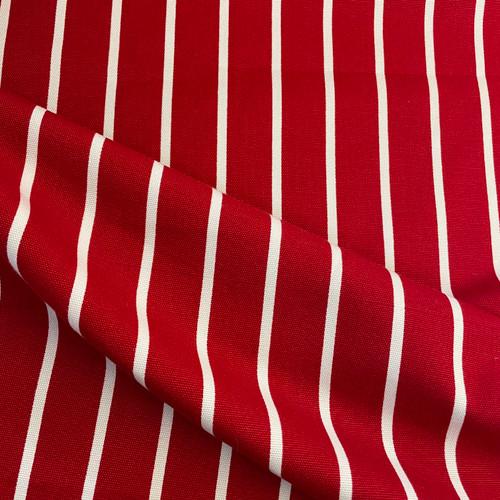 Butchers Stripe Cotton Canvas in Red