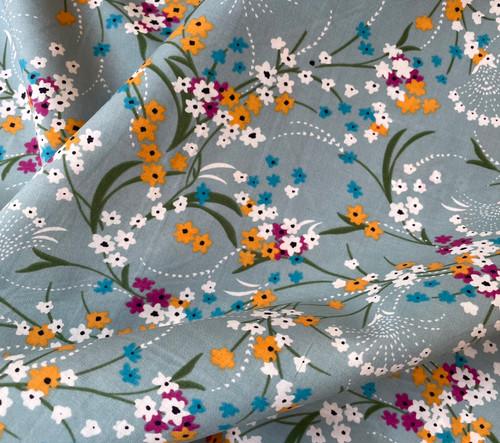 Isabella Floral Cotton Lawn in Eau de Nil