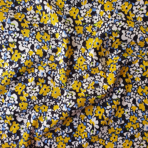 Tansy Floral Jersey in Yellow