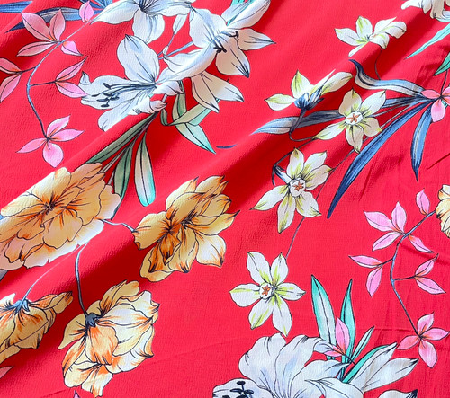Tropical Lily Viscose Crepe in Scarlet