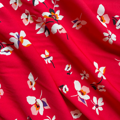 Hana Floral Viscose in Rouge