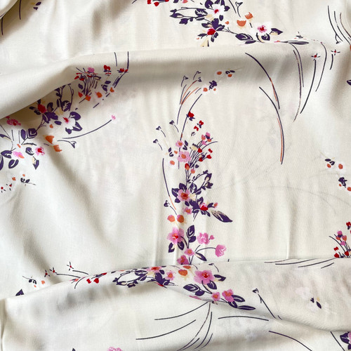 Bryony Floral Viscose in White