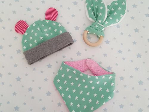 Baby Bundle - Little Hat, Bib & Bunny Ear Teether